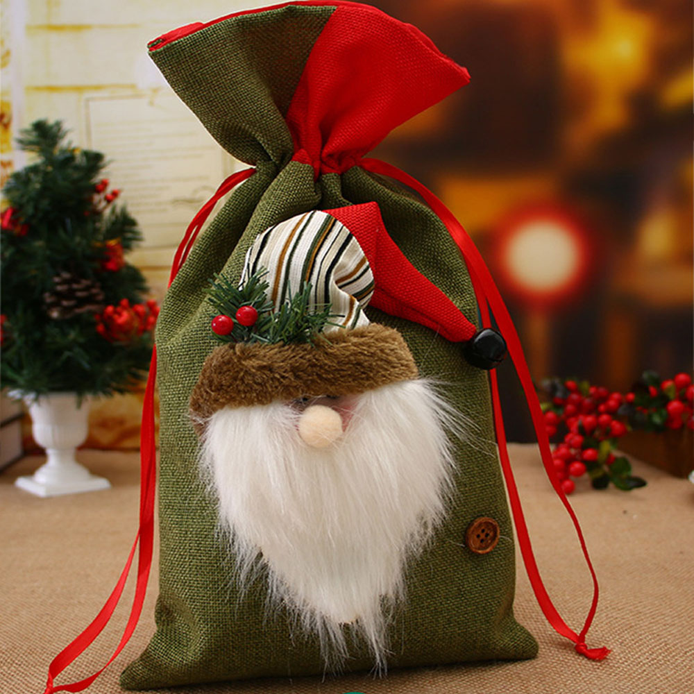 Christmas Supplies Santa Claus Gift Bags Burlap Holiday Decorations Christmas Child Candy Bag Gift Bag AA026