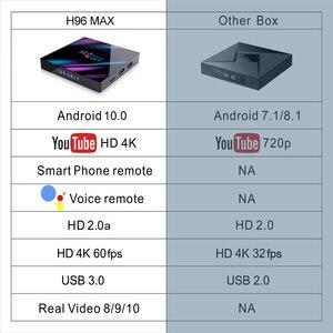 Image 4 - تي في بوكس أندرويد 10.0 H96 ماكس Rockchip 32GB 64GB أندرويد فك التشفير بلوتوث 2.4/5.0G واي فاي 4K ثلاثية الأبعاد الذكية التلفزيون وسائل الإعلام مشغل جوجل