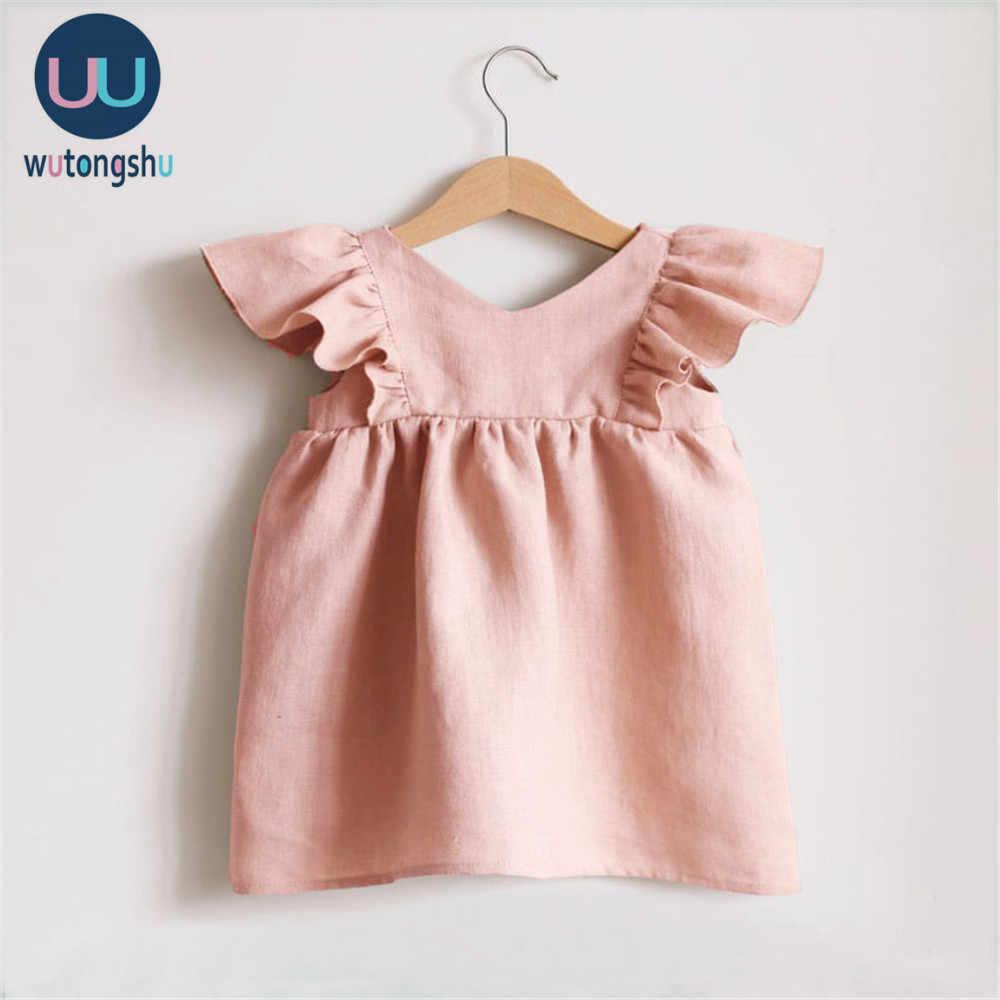 Leinen Baby Kleider Sommer Mädchen Kleidung Prinzessin Kleid 1st Geburtstag Party Kleid Für Mädchen Nettes Kind kleinkind Mädchen Kleidung