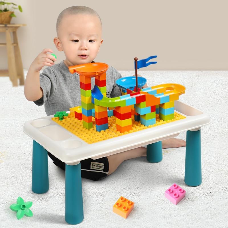 Duploed Base Plate Study Table Large Particles Bricks  Funnel Slide Building Blocks Toys For Childrens