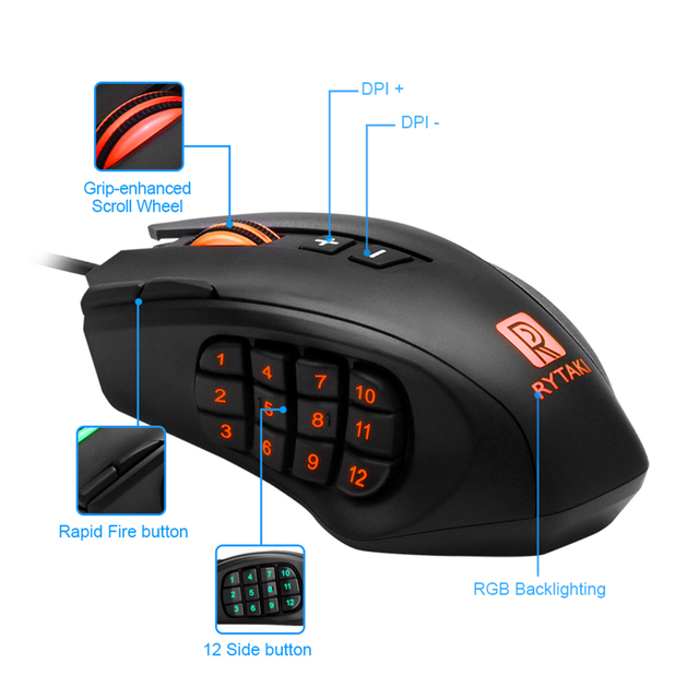 Rocketek USB wired Gaming Mouse 16400 DPI 16 buttons laser programmable game mice with backlight ergonomic for laptop computer 3