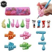 Dois-dedo caneta titular silicone bebê aprendizagem escrita ferramenta de correção de postura do dedo dispositivo lápis conjunto papelaria 16 peça
