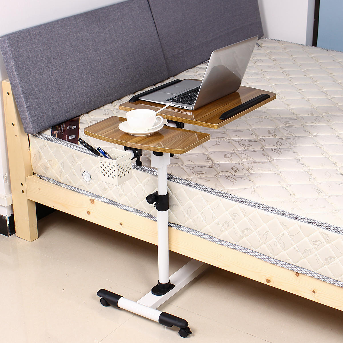 Adjustable Angle /& Height Rolling Laptop Notebook Desk Stand Over Sofa Bed Table