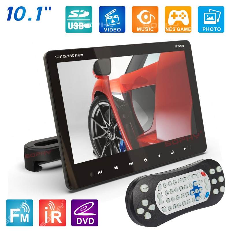 New 10.1 Inches External Car Headrest DVD Player Rear Seat Screen Monitor DVD/VCD USB/SD/HDMI/IR/FM SH1018DVD title=