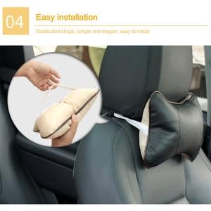 Image 4 - 1pc Leather Breathable Mesh Auto Car Neck Rest Headrest Cushion Pillow NEW Car Head Rest Seat  Soft Hendrest Pad Accessories