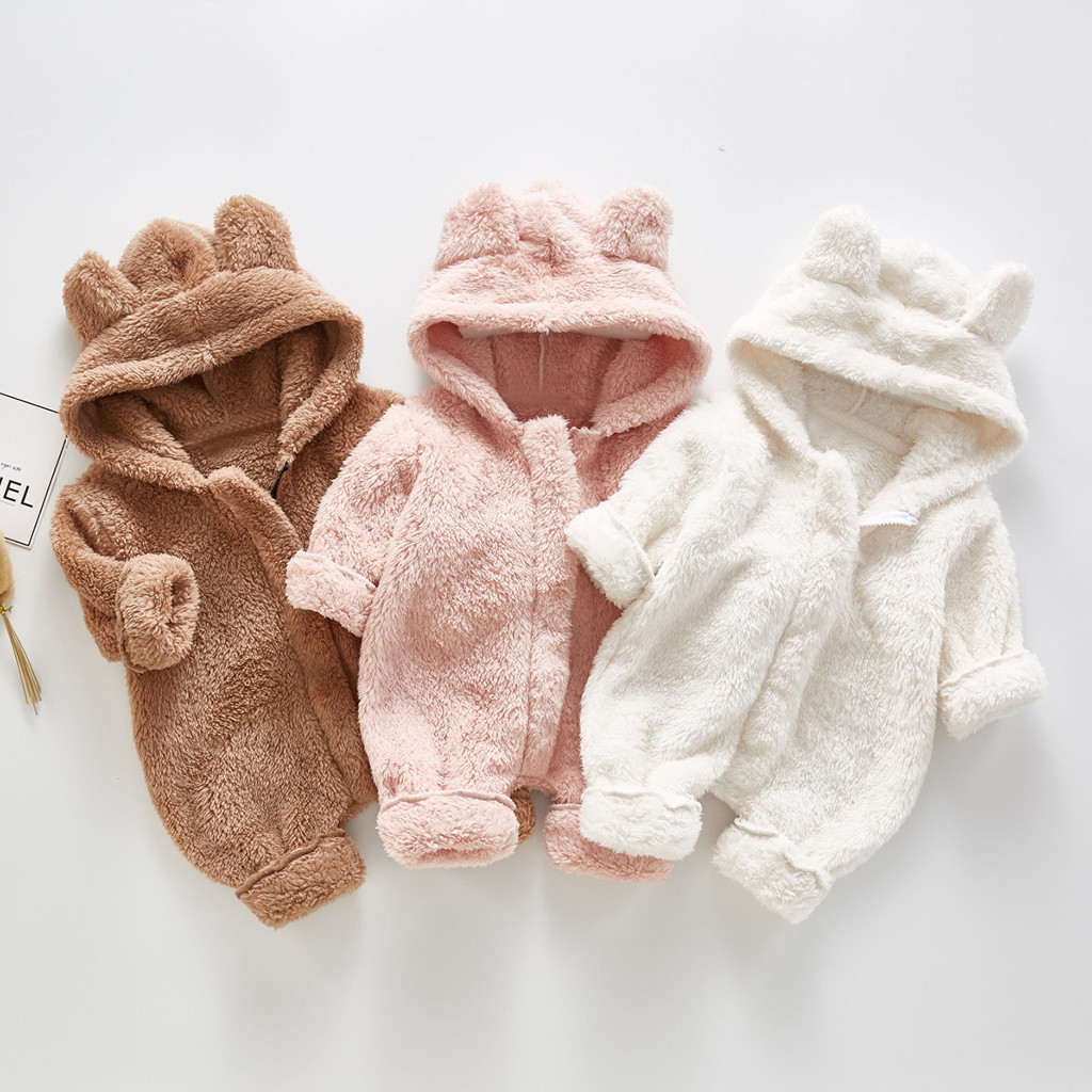 Newborn Infant Baby Winter Hoodie Coats Cute Ears Solid Color Zipper Thicken Warm Puffer Jacket Snowsuit for 0-9 M