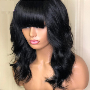 Peluca de cabello sintético de Color negro, largo ondulado, para mujer, peluca con flequillo completo, peluca de cabello Natural de trama a máquina de color 1B