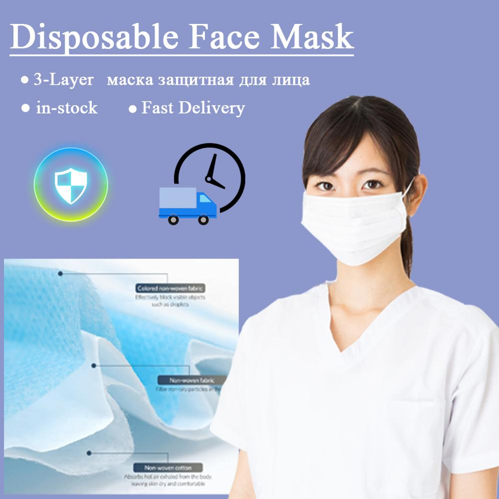 50pcs Disposable Masks маска защитная Anti-Dust Face Mouth Safety Protective Mask Earhanging Type Cover White Face Mask