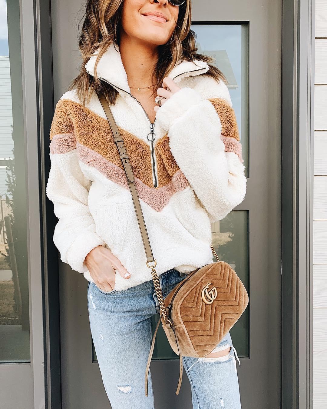 Hdbe217d9d92441d39fbbe4fb83494907v New Style Women Warm Teddy Bear Fleece Pullover Coat Zip Outwear Overcoat Long Sleeve Jumper Top Pullover Winter Warm Soft Coat