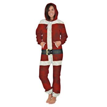 2019 Santa Claus clothes Men One-piece Garment Pajama Playsuit Zipper Hoodie Male Onesie 3D Print Jumpsuit Streetwear Overalls