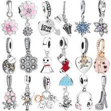 Flor s925 prata esterlina encantos pingente grânulo europeu caber encantos originais pulseira corrente menina feminino jóias presente fazer