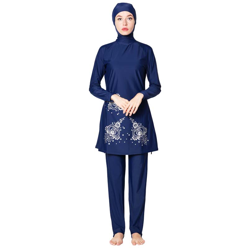 Muslim swimwear Traditional Hijab Full Cover Costume Fashion Solid Color Burkinis Swimsuit For Lady Long sleeve swimsuit