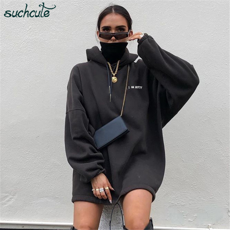 SUCHCUTE Warm Women Hoodies Pullover Turtleneck Plus Size Winter 2019 Gothic Wild Casual Long Hoodie Female Streetwear Clothes