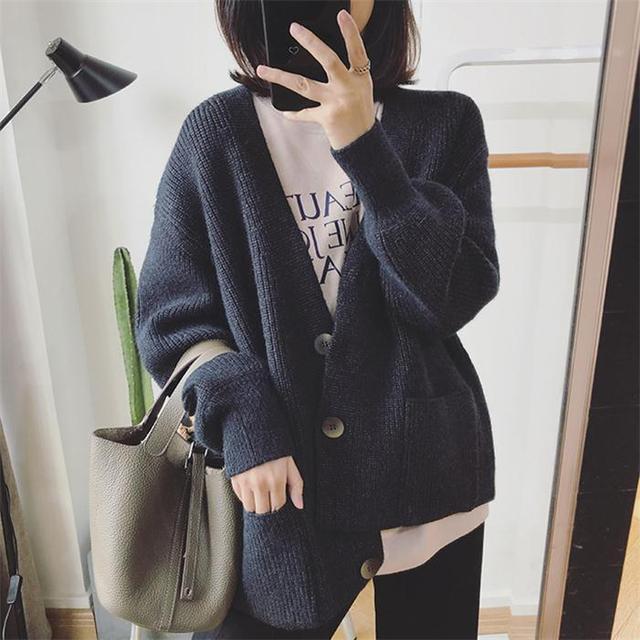 Women Cardigans Sweater V neck Solid Loose Knitwear Single Breasted Casual Outwear Jacket Coat 3