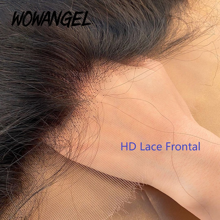 WOWANGEL  Brazilian Straight Hair 13 By 4  Transparent HD Lace Frontal Closure Natural Color Remy Human Hair 10-20 Inch