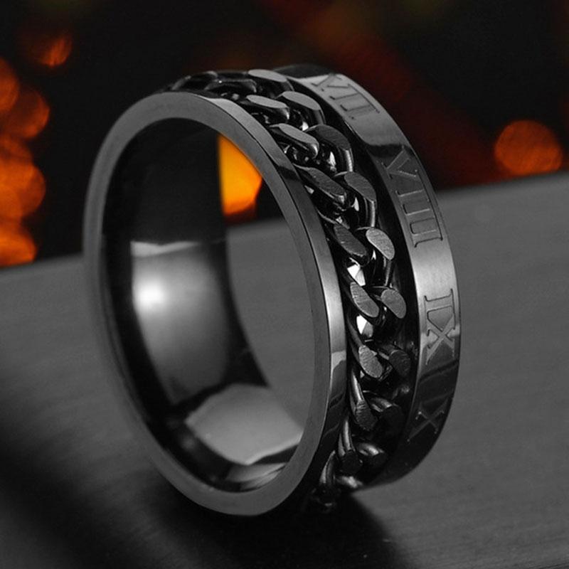 Спиннер из нержавеющей стали цепи римскими цифрами мужские Spinner цепи титаниевое стальное кольцо для мужчин, модное ювелирное изделие