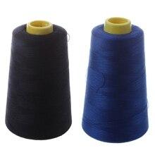 2 шт. прочная 3000 ярдов оверлочная швейная машина промышленная полиэфирная нить метровые конусы цветная полиэфирная швейная нить(темно-синий и Bl