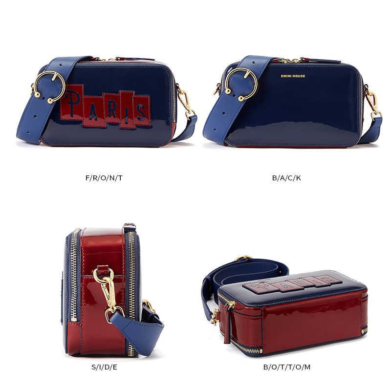 EMINI CASA Série Paris Patent Leather Flap Crossbody Sacos Para As Mulheres Bolsas E Bolsas Bolsa de Ombro Das Mulheres Sacos Do Mensageiro
