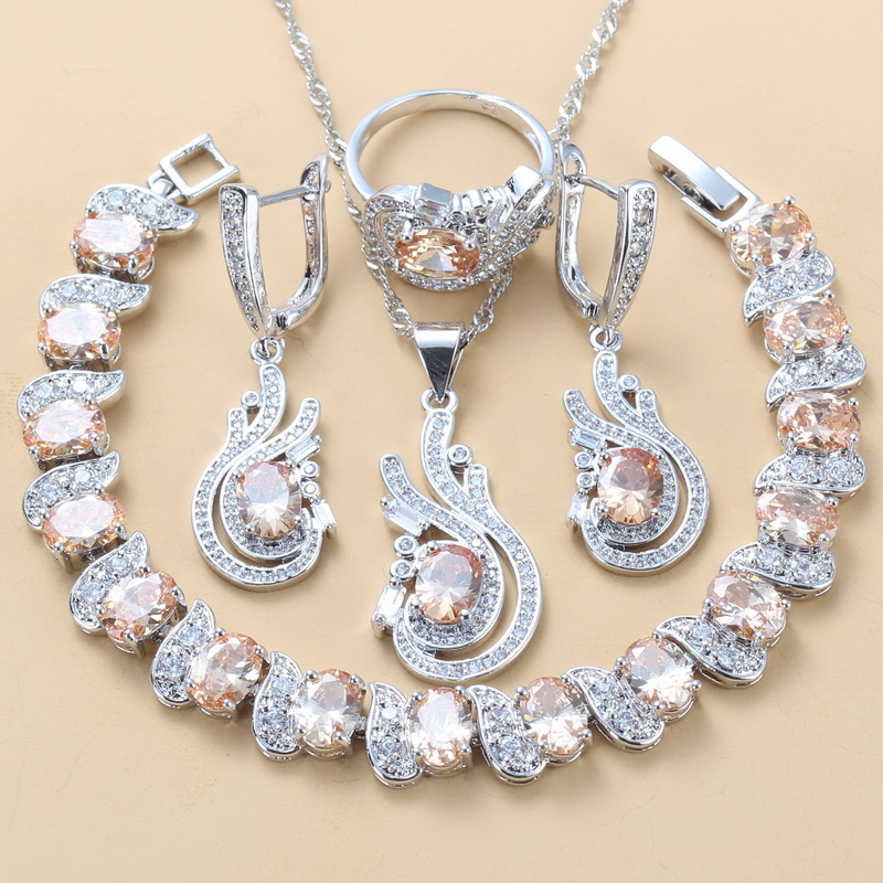 925 Sterling Silver 9Color Jewelry Sets Champagne CZ Dangle Earrings/Bracelet Ring Trendy Vintage Costume Sets