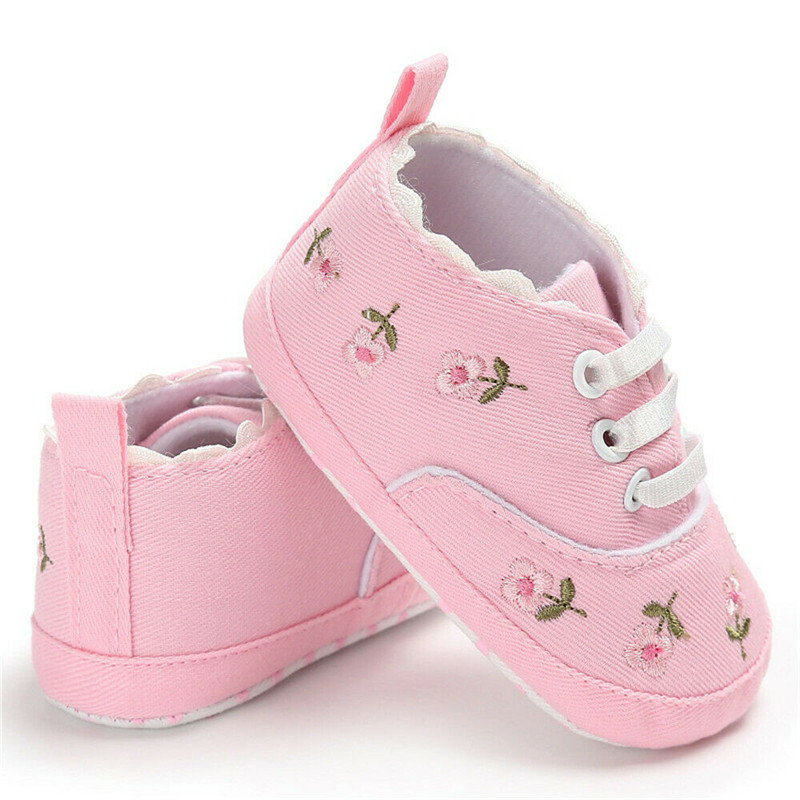 New Baby Girl Crib Shoes Newborn Flower Embroidery Soft Sole Prewalker Sneakers