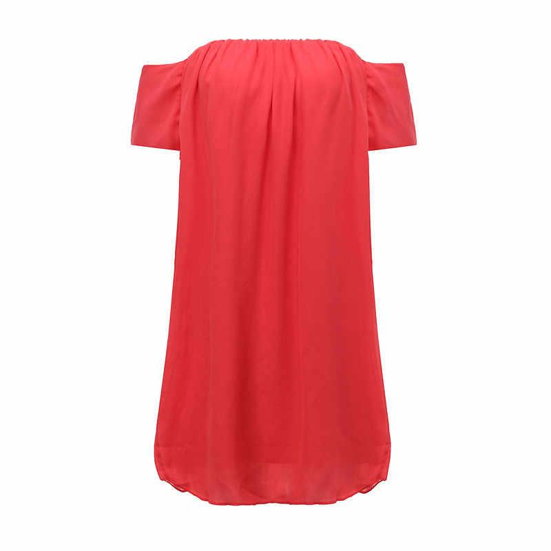 Zanzea Wanita Musim Panas Chiffon Gaun Mini Kasual Seksi Off Bahu Padat Gaun Wanita Bohemian Pantai Vestidos Plus Ukuran 2XL