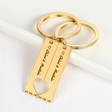 Personalized Heart Keychain Customized Couples Keychain Engraved  Date and Name Love Keyring Women Men Love Gifts