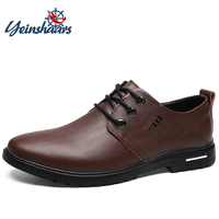 YEINSHAARS Men Dress Shoes Genuine Leather Oxford Shoes Brown Black Wedding Business Shoes Men Derby Shoes Big Size 38 45