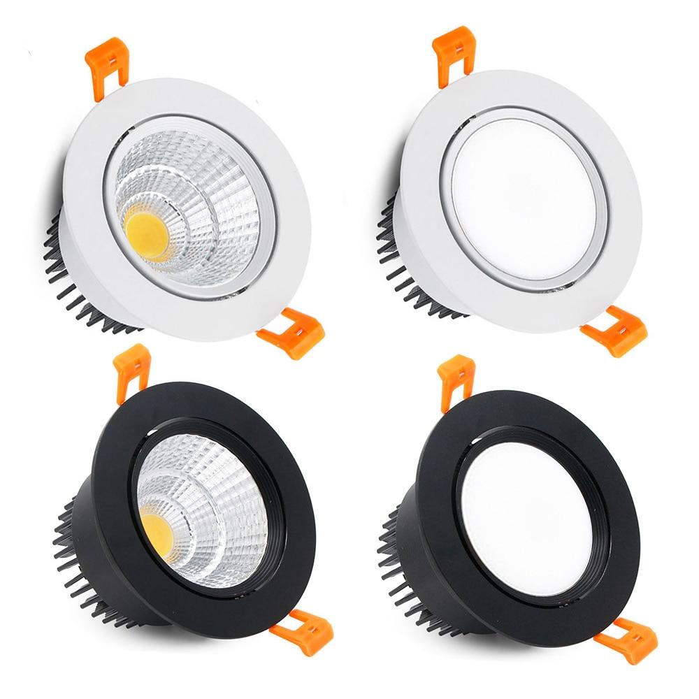 Dimmable Led Downlight Light Angle Adjustable COB Ceiling Spot Light 3w 5w 7w 9w 12w 15w Ceiling Recessed Lights AC85-265V