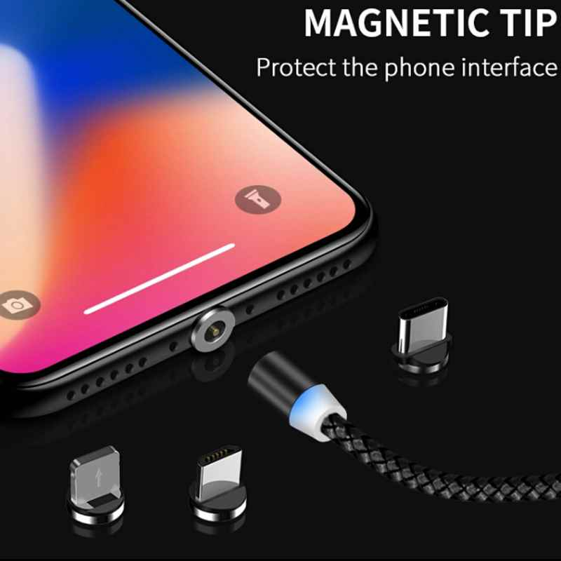Magnetic Cable 3 IN 1 Micro USB Cable Type C For IPhone X 7 Samsung S10 Oppo HTC LG 1M 2.4A Magnet Charger Adapter Phone Cables