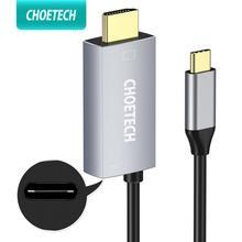 Choetech adaptador usb 3.1 tipo c, para hdmi, thunderbolt 3, compatível com porta de carregamento 60w pd para macbook galaxy s9 note 8,