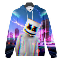 ZSQH DJ Marshmallow Digital color printing Hoodies Sweatshirts Cosplay Costume For women&Men Marshmallow costume boys& girls