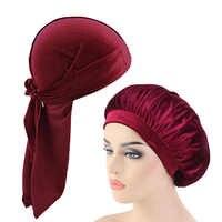 Group Sales Velvet Durag And Bonnet 2pcs Set Women Sleep Cap