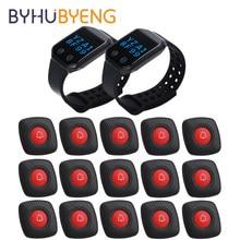 BYHUBYENG Restaurant Waiter wireless Calling Pager System Wrist Watch Hospital Equipment Cafe Relogio Digital Panic Button Call
