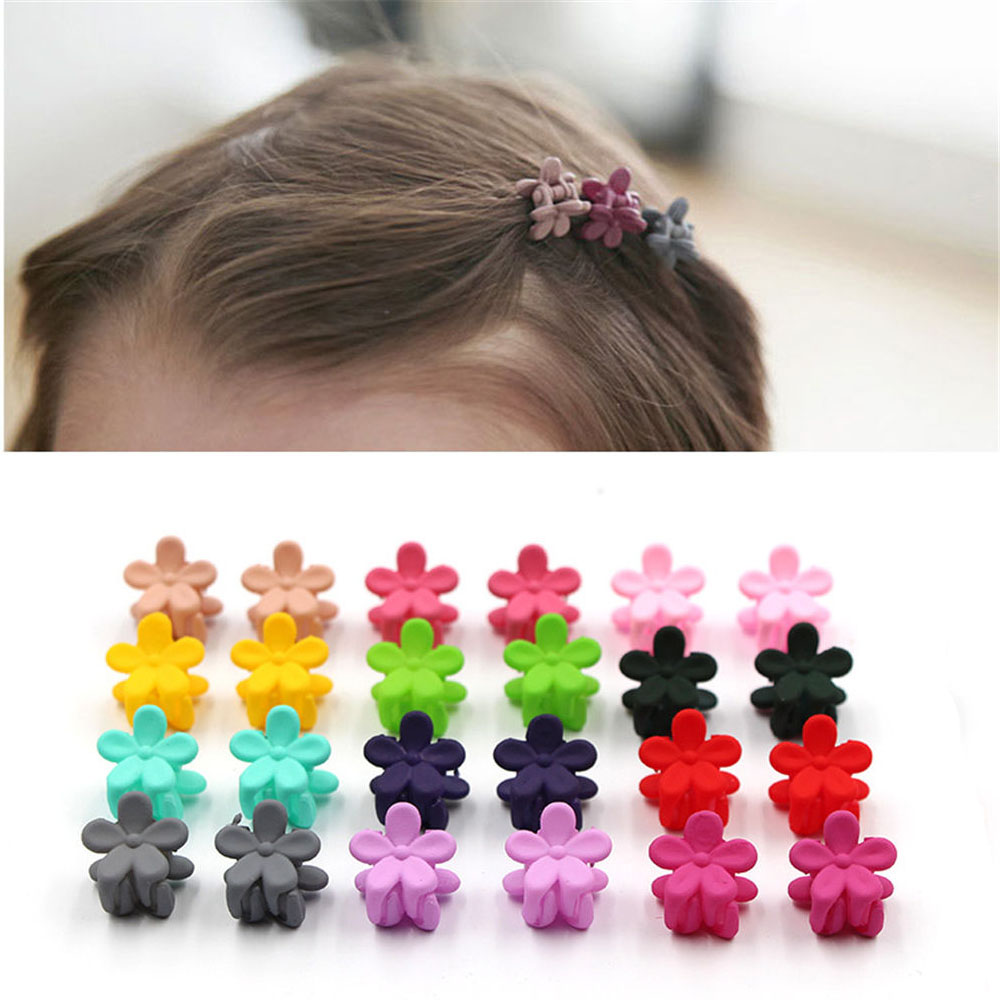 10 Pcs Fashion Little Girls Mini Hair Claw Acrylic Candy Color Flower Hair Clip Children Hairpin Hair Accessories Wholesale
