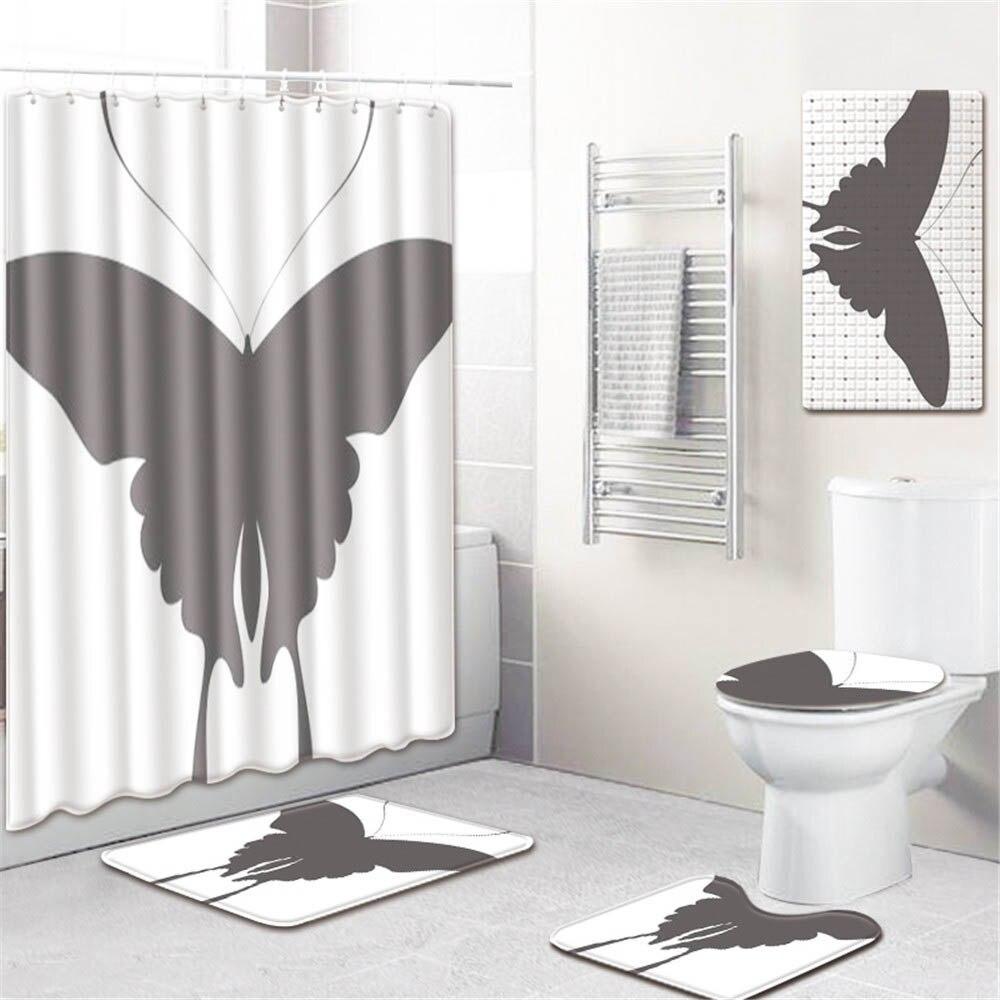 5 шт./компл. 3D занавески для душа с принтом набор водонепроницаемая ткань из полиэстера занавес для ванной комнаты ПВХ Противоскользящий коврик для ванной ковер для украшения дома - 6