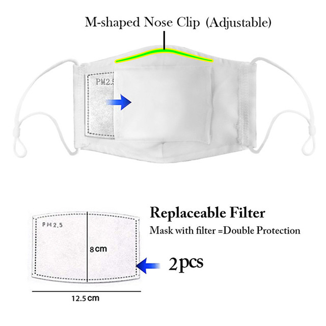 Print Mouth Mask Washable Cotton PM2.5 Filter Mask Anti Dust Face Mask Reusable Mouth-muffle Bacteria Proof Flu Adult Mask 4
