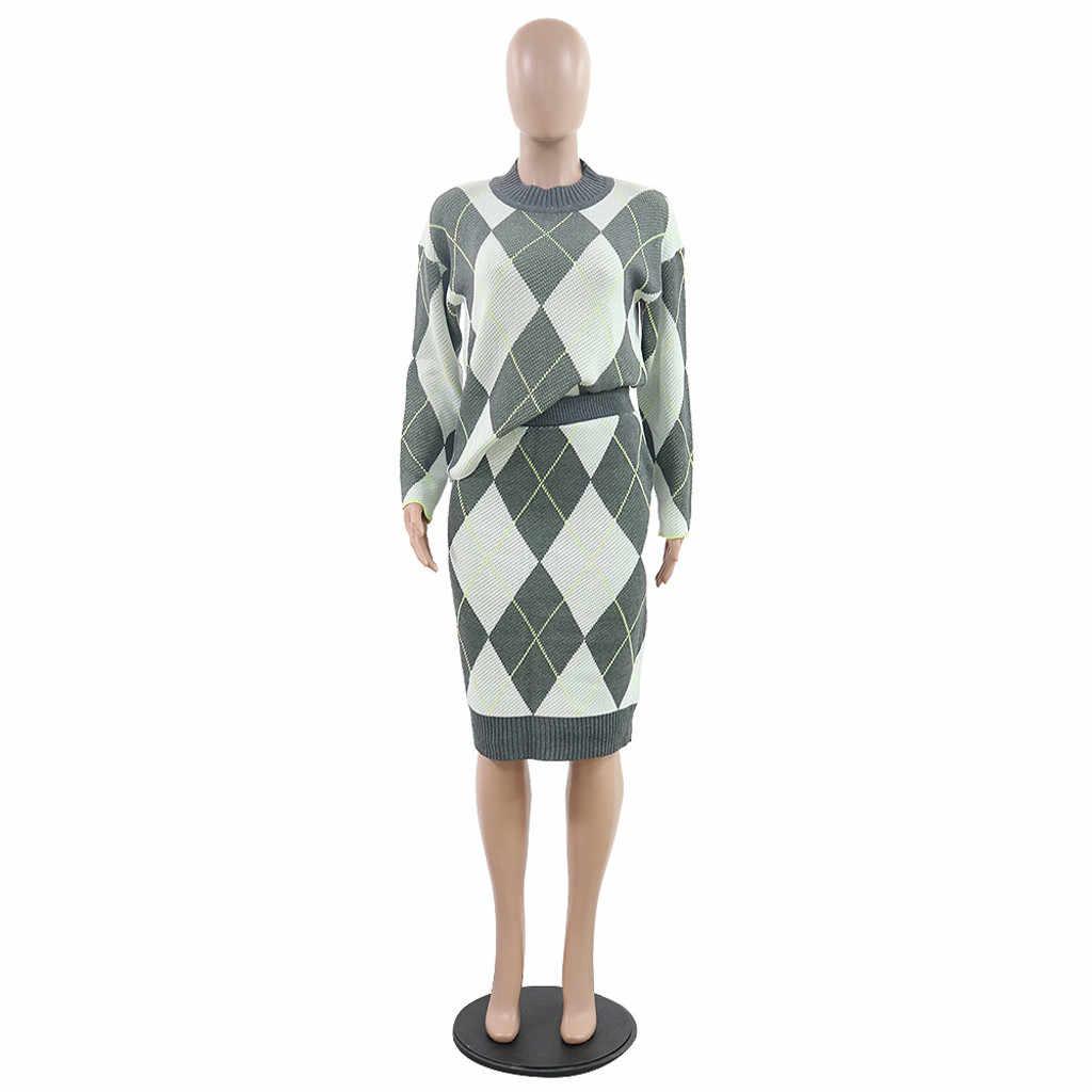 2020 zima łączenie sweter dwuczęściowy zestaw sukienka z golfem długim rękawem luźne krótki top pasy Bodycon spódnica trzy czwarte garnitury # ss