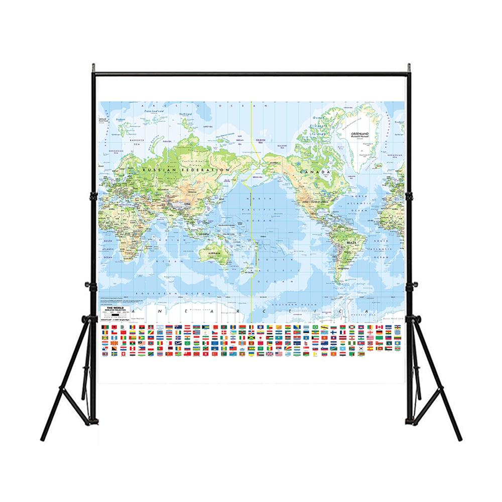 Non-woven Vinyl Spray World Map 150x150cm Mercator Projection Map With National Flag For Culture And Education
