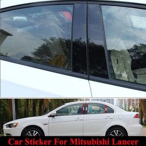 Etiqueta para centro de janela de carro, 6 pçs/set, decoração externa, guarnição, filme, anti-arranhão, acessórios para carro mitsubishi lancer