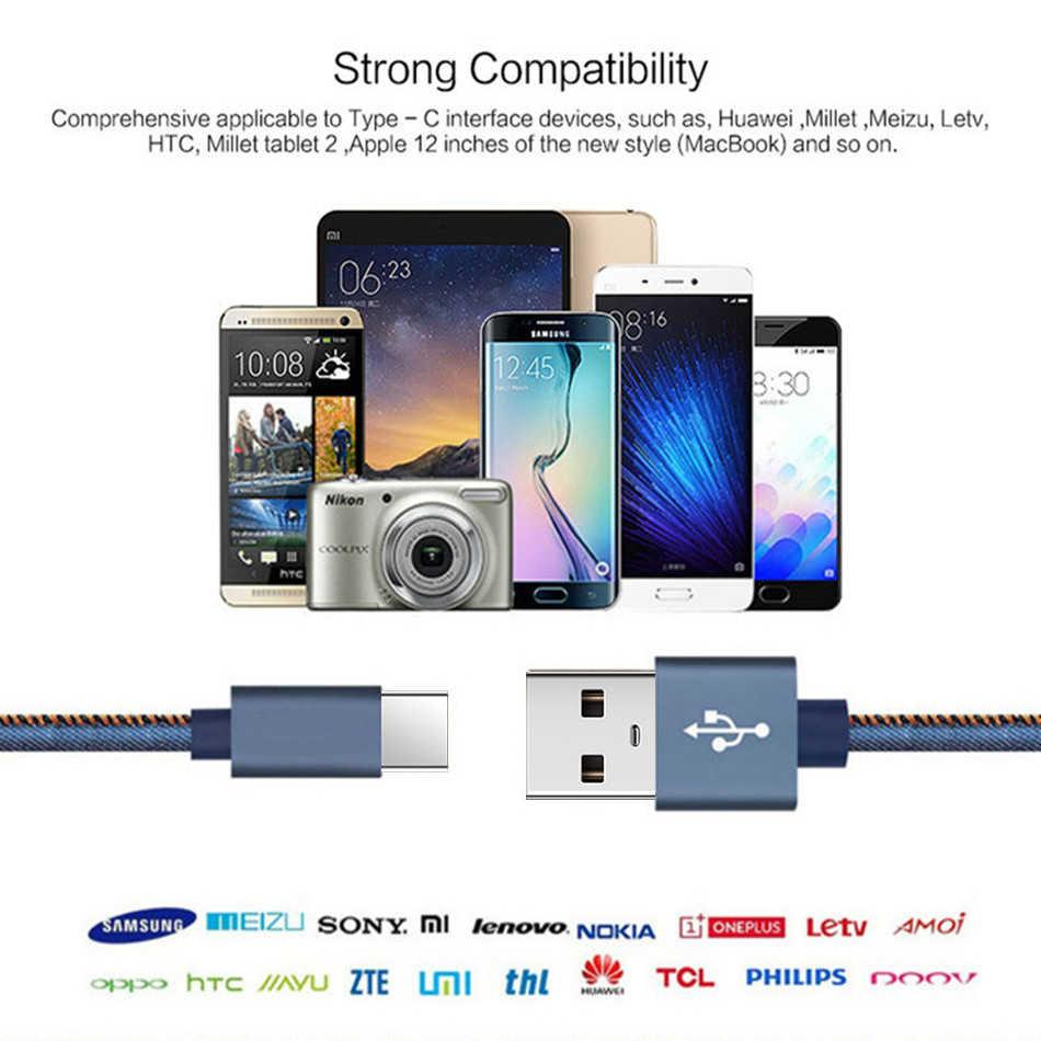 Denim Cáp Micro USB 3A Sạc Nhanh Microusb Dây Sạc Samsung Huawei Xiaomi Redmi Note Pro Máy Tính Bảng Điện Thoại Android dây Cáp