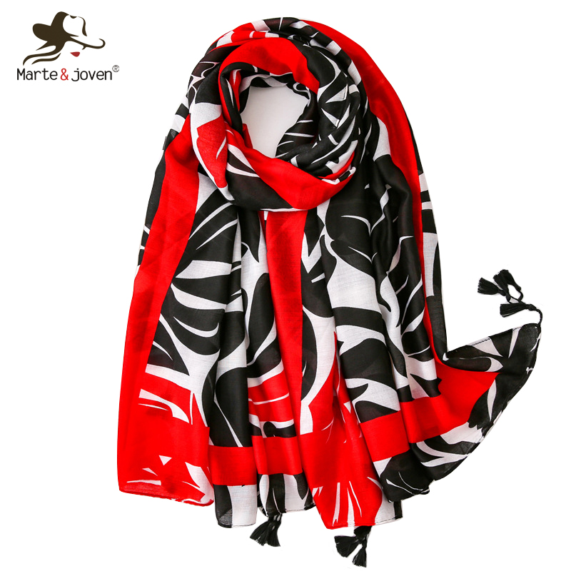 Marte&Joven Fashion Leaves Print Black   Scarf   for Women Soft Red Striped Summer Beach Pashmina Female Winter Warm   Wrap   Stole