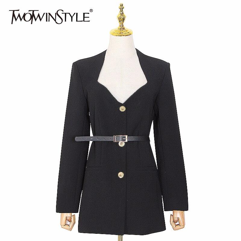 TWOTWINSTYLE Elegant Female Dress Irregular Neck Long Sleeve High Waist With Sashes Dresses For Women Summer Fashion Tide 2020