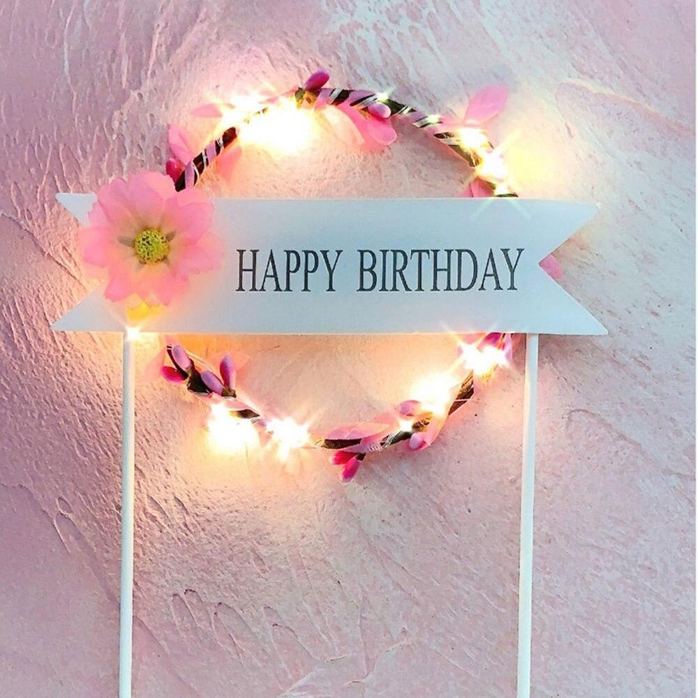 1 шт. цветочный венок торт Топпер светодиодный светящийся День рождения украшение душевой кабины для малышей DIY выпечки Торт Топ флаги вставки поставки - Цвет: Pink