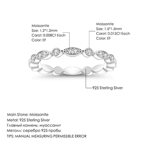 Image 5 - Pulseira de casamento de prata esterlina 925 para mulheres jóias finas anel de balé 0.008ct moissanite ef color eternity band