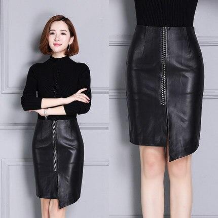 2020 Women New Real Genuine Sheep Leather Skirt K7
