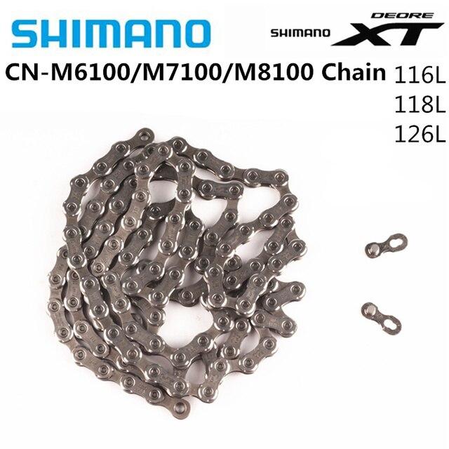 SHIMANO DEORE XT CN M8100 SLX M7100 DEORE M6100 שרשרת 12s הרי אופני אופניים שרשרת 116L 124L 126L אופניים מקורי Shimano