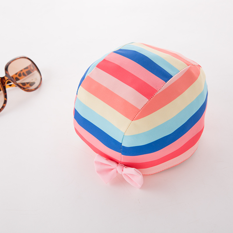 Girl'S One-piece Swimming Suit Rainbow Stripe Hat-Children Hot Springs Bathing Suit