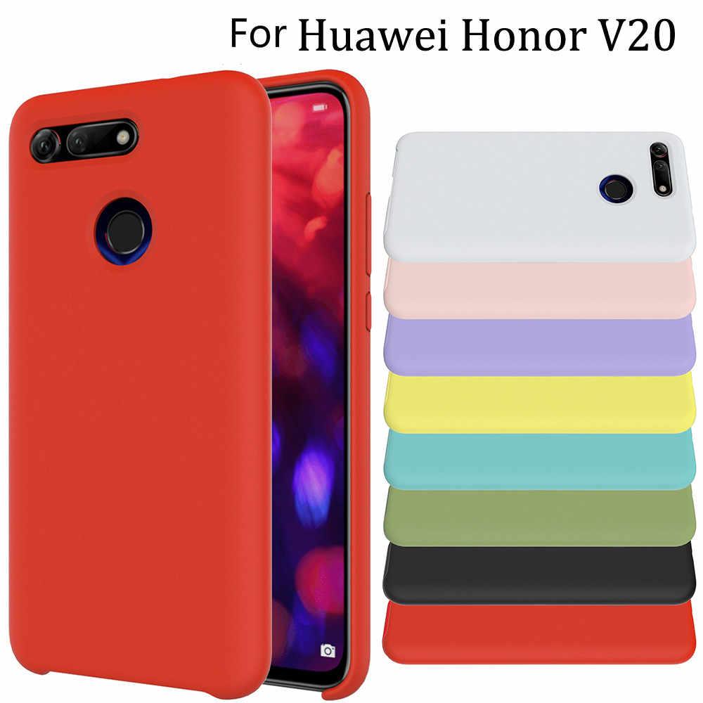 Untuk Kehormatan V20 Kasus Lembut Cair Silicon untuk Kehormatan Tersedia 20 Program 10 Lite 8C 8X V10 Shockproof Cover untuk Huawei P Smart Plus Y9 2019 Case