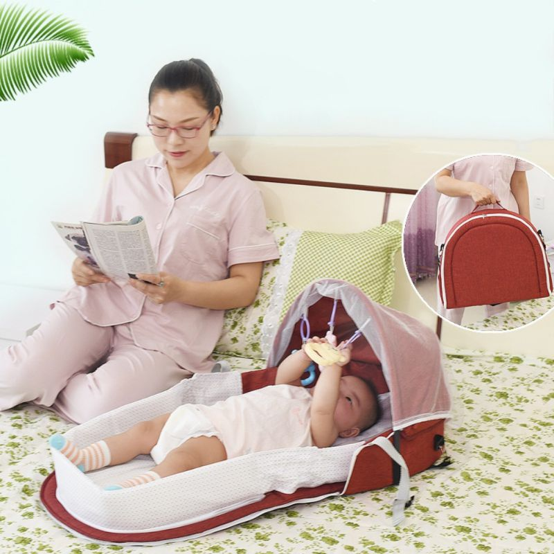 Portable Bassinet For Baby Foldable Baby Bed Travel  Sun Protection Mosquito Net Breathable Infant Sleeping Basket With Toys F