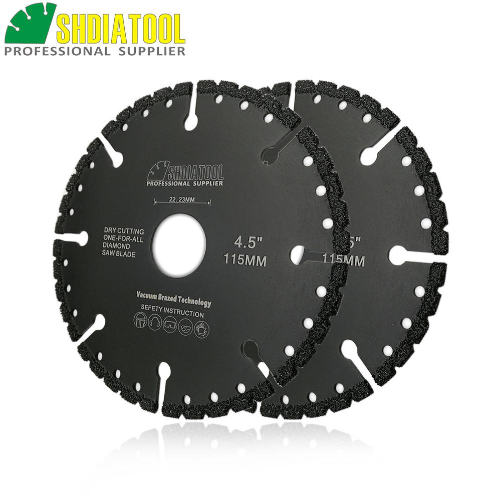 SHDIATOOL 2pcs Vacuum Brazed Diamond Cutting Discs Multi Purpose Rescue Sawblade For Cast Iron Steel Metal Plastic Concrete PVC